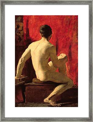 Seated Male Model Framed Print