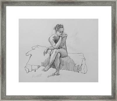 Seated Nude 2 Framed Print by Robert Bissett