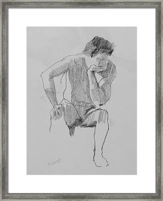 Seated Nude 3 Framed Print by Robert Bissett