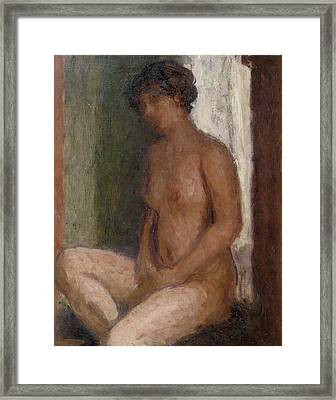 Seated Nude Against The Light Framed Print by Roderic OConor