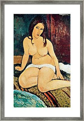 Seated Nude Framed Print by Amedeo Modigliani