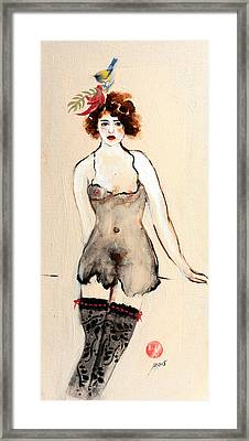 Seated Nude In Black Stockings With Flower And Bird Framed Print by Susan Adams
