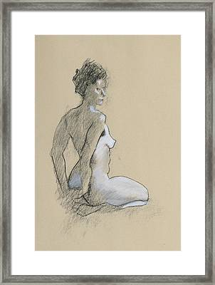 Seated Nude Framed Print by Robert Bissett
