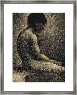 Seated Nude Study For Une Baignade Framed Print by Georges-Pierre Seurat