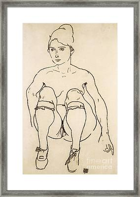 Seated Nude With Shoes And Stockings Framed Print