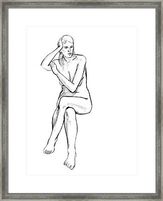 Seated Nude Woman Framed Print by Adam Long