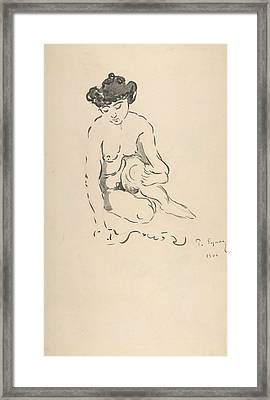 Seated Nude Woman Framed Print by Paul Signac