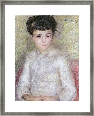 Seated Portrait Of A Young Girl With Brown Hair Framed Print by Pierre Auguste Renoir