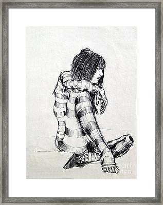 Seated Striped Nude Framed Print