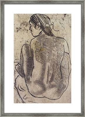 Seated Tahitian Nude From The Back Framed Print by Paul Gauguin