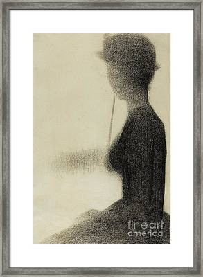 Seated Woman With A Parasol  Framed Print