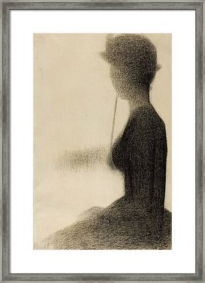 Seated Woman With A Parasol Study For La Grande Jatte Framed Print