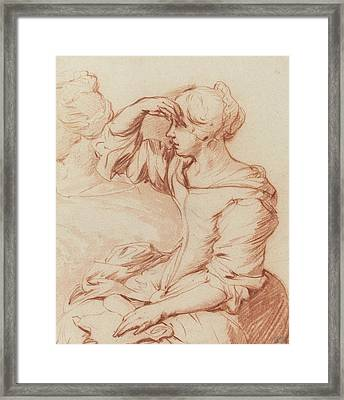 Seated Woman With Her Hand Held Over Her Eyes Framed Print