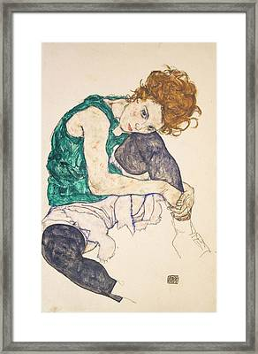 Seated Woman With Legs Drawn Up Framed Print