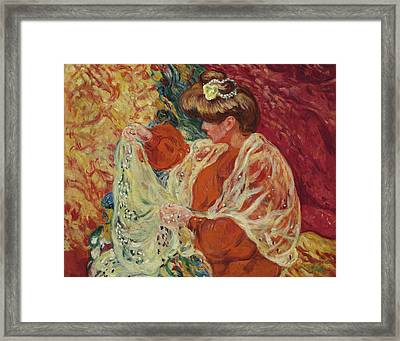 Seated Woman With Shawl Framed Print by Louis Valtat