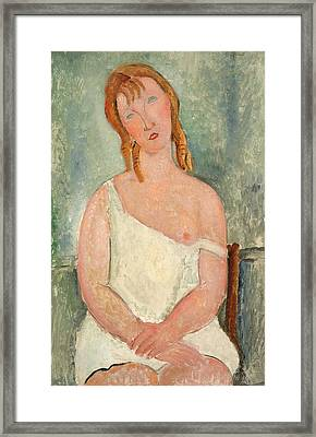 Seated Young Girl In A Shirt Framed Print