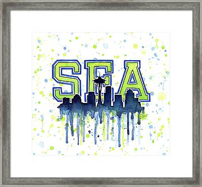 Seattle Watercolor 12th Man Art Painting Space Needle Go Seahawks Framed Print by Olga Shvartsur
