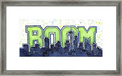 Seattle 12th Man Legion Of Boom Painting Framed Print by Olga Shvartsur