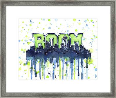 Seattle 12th Man Legion Of Boom Watercolor Framed Print by Olga Shvartsur
