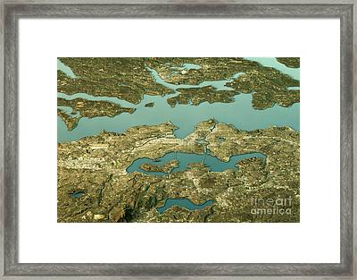 Seattle 3d Landscape View East-west Natural Color Framed Print by Frank Ramspott