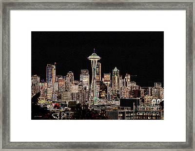 Seattle A Glow Framed Print