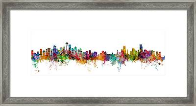 Seattle And Miami Skylines Mashup Framed Print