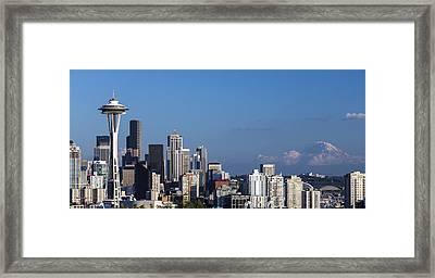 Seattle And Mt Rainier Framed Print