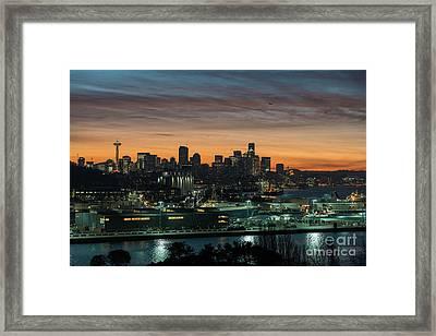 Seattle And Pier 90 Sunrise Framed Print