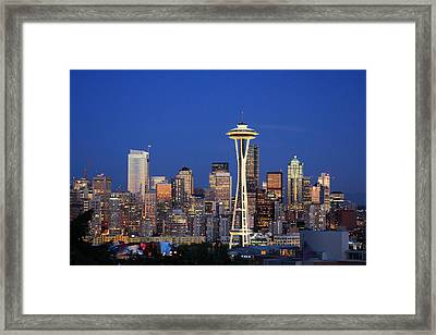 Seattle At Dusk Framed Print by Adam Romanowicz