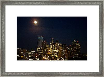 Seattle At Night Framed Print by James Johnstone