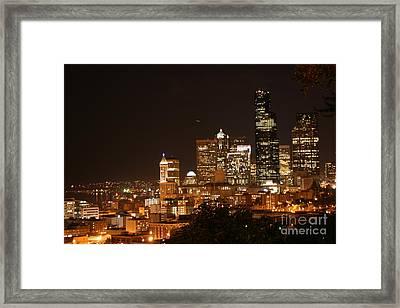 Seattle At Night Framed Print by Robert Torkomian