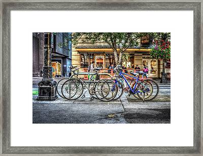 Framed Print featuring the photograph Seattle Bicycles by Spencer McDonald