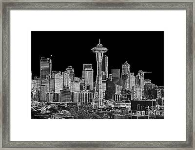 Seattle Black And White Framed Print