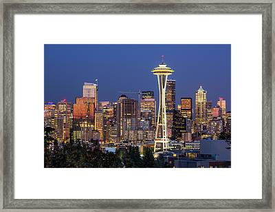 Seattle Blue Hour Framed Print by Seattle Art Wall