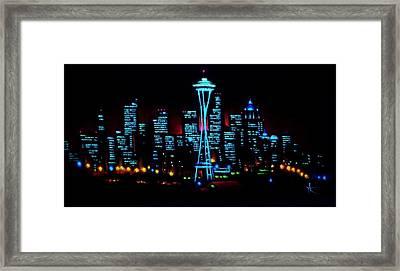 Seattle By Black Light Framed Print