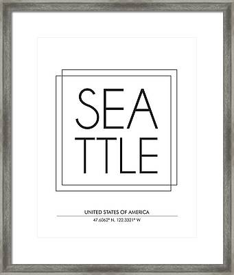 Seattle City Print With Coordinates Framed Print