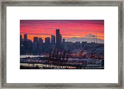 Seattle Cityscape And Port Sunrise Fire Framed Print