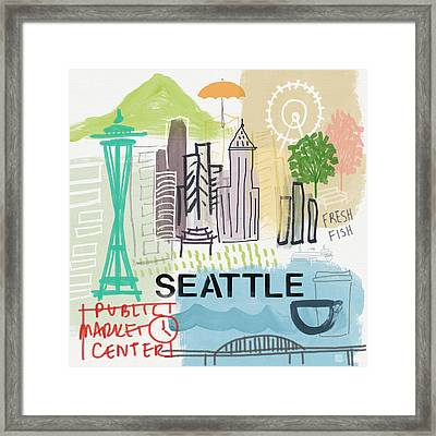 Seattle Cityscape- Art By Linda Woods Framed Print by Linda Woods