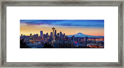 Seattle Dawn Panorama Framed Print
