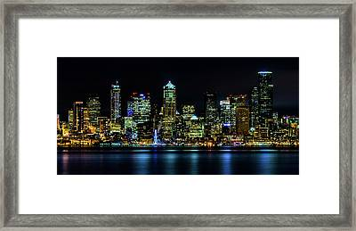 Seattle Downtown At Night Framed Print by TL  Mair