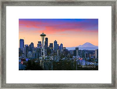 Seattle Waking Up Framed Print by Inge Johnsson