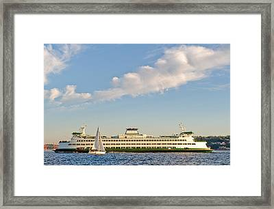 Seattle Ferry Boat Framed Print by Tom Dowd