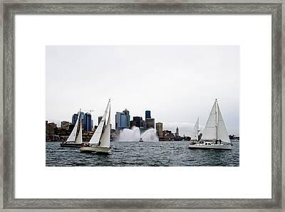 Seattle Fire Boat Sailing Framed Print by Tom Dowd