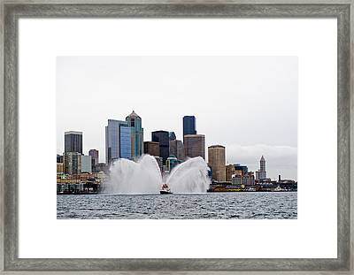 Seattle Fire Boat Framed Print by Tom Dowd