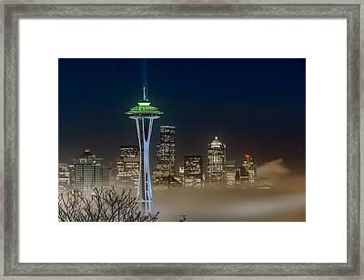 Seattle Foggy Night Lights Framed Print