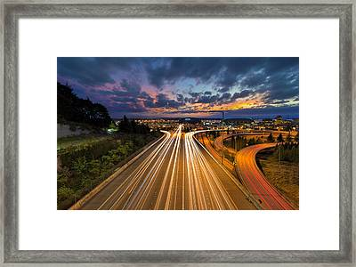 Seattle Freeway Light Trails Framed Print by David Gn
