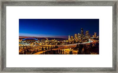 Seattle From The Jose Rizal Bridge Framed Print by Pelo Blanco Photo