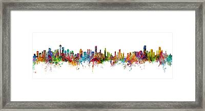 Seattle, Honolulu And Miami Skylines Mashup Framed Print