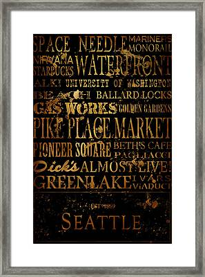 Seattle Icons Framed Print by Tanya Harrison