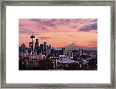 Seattle In Pink Framed Print by Aaron Eakin